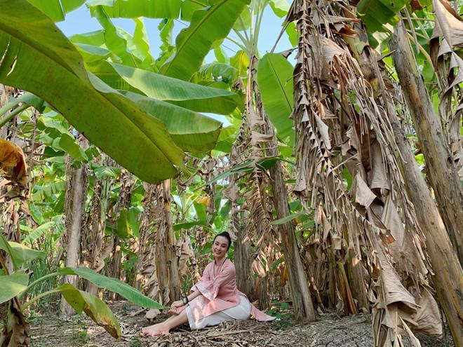 Hình ảnh Phương Trinh bên vườn chuối xanh mướt ở miền Tây. Quê nội Angela Phương Trinh ở Long An, trên trang cá nhân nữ diễn viên nhiều lần chia sẻ hình ảnh về thăm quê.