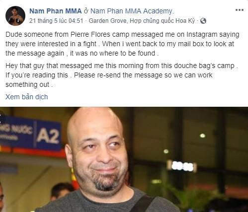 Võ sĩ Nam Phan đăng trên fanpage cá nhân.