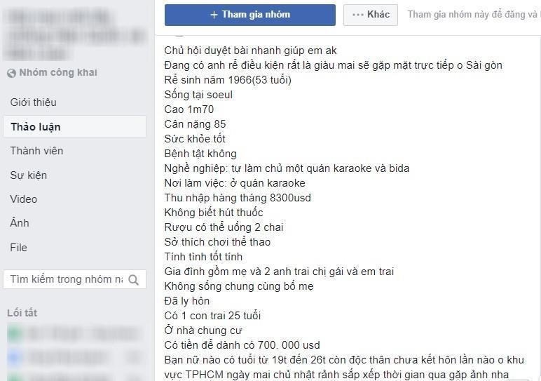 """Các bên môi giới đăng tải bài viết """"tuyển dâu"""" cho chú rể Hàn Quốc trong những nhóm công khai trên Facebook. Ảnh: Chụp màn hình từ Facebook."""