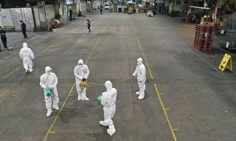 Nhân viên phòng chống dịch mặc đồ bảo hộ phun thuốc khử trùng ở thành phố Daegu, Hàn Quốc, hôm 20/2. Ảnh: AP.