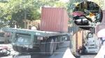 Vũng Tàu: Kinh hoàng xe container nổ bánh mất lái kéo lê 5 xe máy, nhiều người bị thương