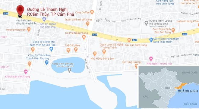 Vụ cháy xảy ra tại đường Lê Thanh Nghị, TP Cẩm Phả. Ảnh: Google Maps.
