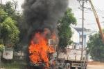 Xe container bốc cháy dữ dội trong KCN ở Bình Dương