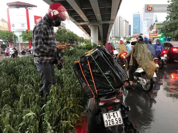 Mưa quá lớn một số ng tranh thủ trú mưa tại gầm cầu vượt đường Láng.