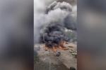 Khoảnh khắc xe chở dầu nổ tung ở TQ, hơn trăm người thương vong