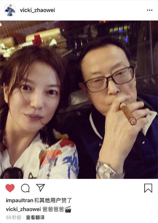 Ảnh của Triệu Vy chụp cùng bố vẫn xuất hiện trên Instagram của nữ diễn viên