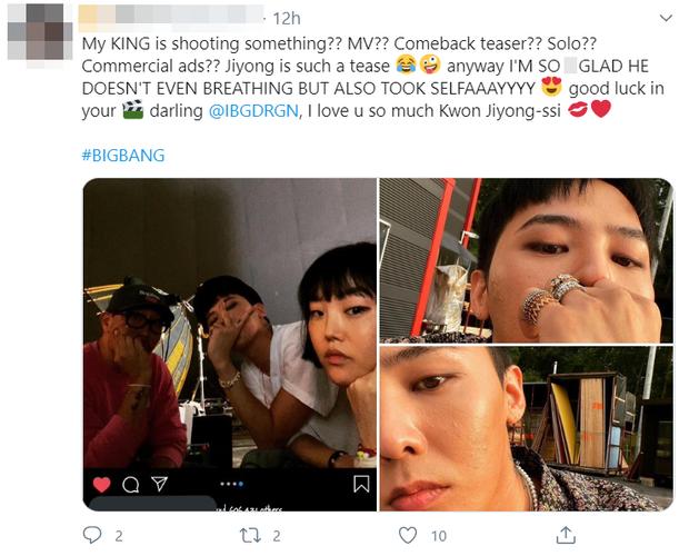 """""""Ông hoàng của em đang quay gì đấy? MV? Comeback teaser? Solo? Quảng cáo? Jiyoung quả là biết trêu ngươi mà""""."""