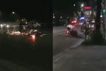 2 thanh niên chạy xe tốc độ cao, cả người và xe máy mài xuống đường tóe lửa vài mét