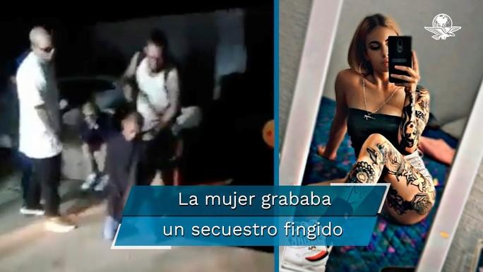 Martinez (phải) và phân cảnh trong đoạn video bắt cóc giả. Ảnh: YouTube.