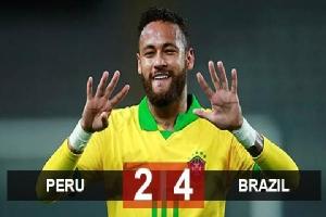 Kết quả Peru 2-4 Brazil: Neymar lập hat-trick, Brazil quay lại ngôi đầu bảng