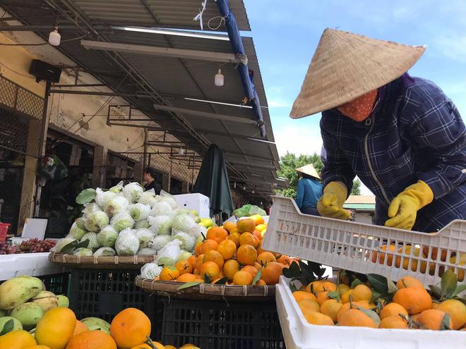 Chị Trần Thị Hà đang cố gắng chọn lấy những hoa quả không bị hư hỏng.
