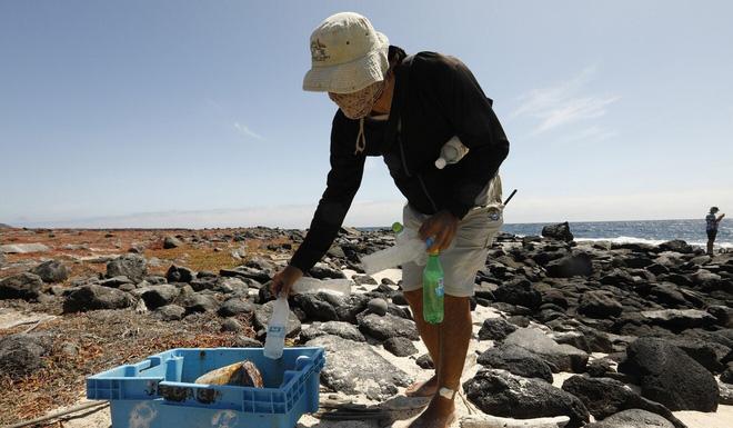 Fernando Ortiz thu gom chai lọ, giày, bao bì có chữ Trung Quốc từ bãi đá trên đảo Mosqueta, quần đảo Galapagos. Ảnh: TNS.