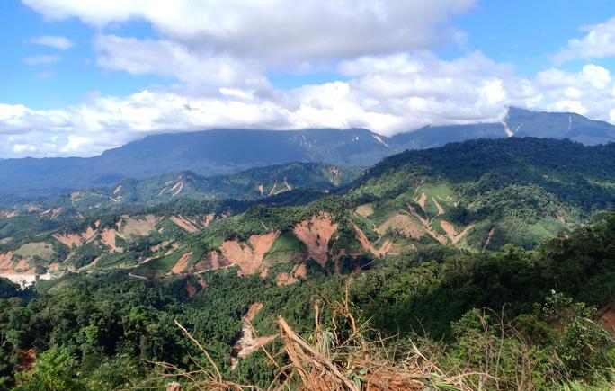 Những quả núi bị sạt lở trầm trọng tại khu vực xã Phước Thành, Phước Kim (huyện Phước Sơn, Quảng Nam).