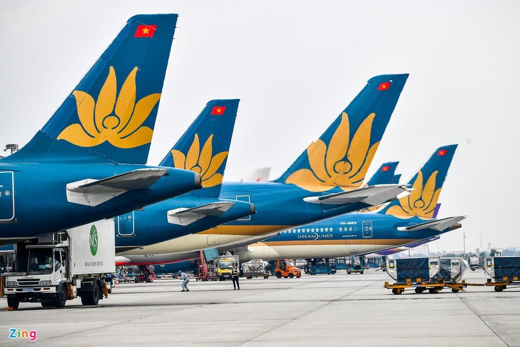 Là hãng bay kinh doanh chính ở đường bay quốc tế nên Vietnam Airlines chịu ảnh hưởng lớn từ dịch Covid-19 từ đầu năm. Ảnh: Hoàng Hà.