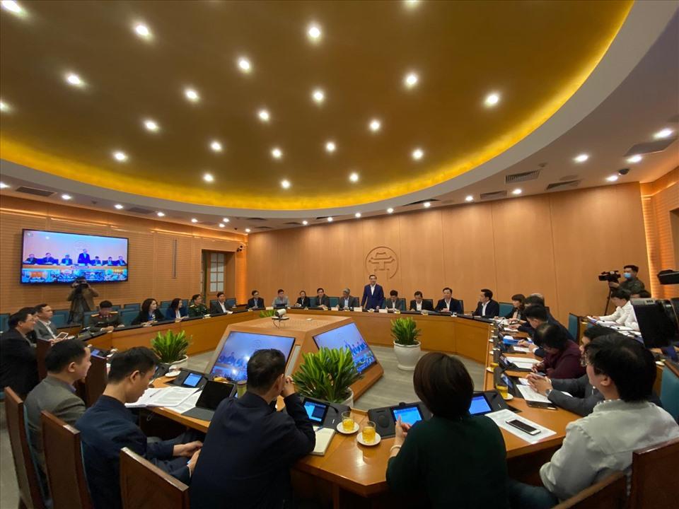 Buổi họp Ban chỉ đạo phòng chống COVID-19 TP Hà Nội chiều 2/12. Ảnh: P.Đ
