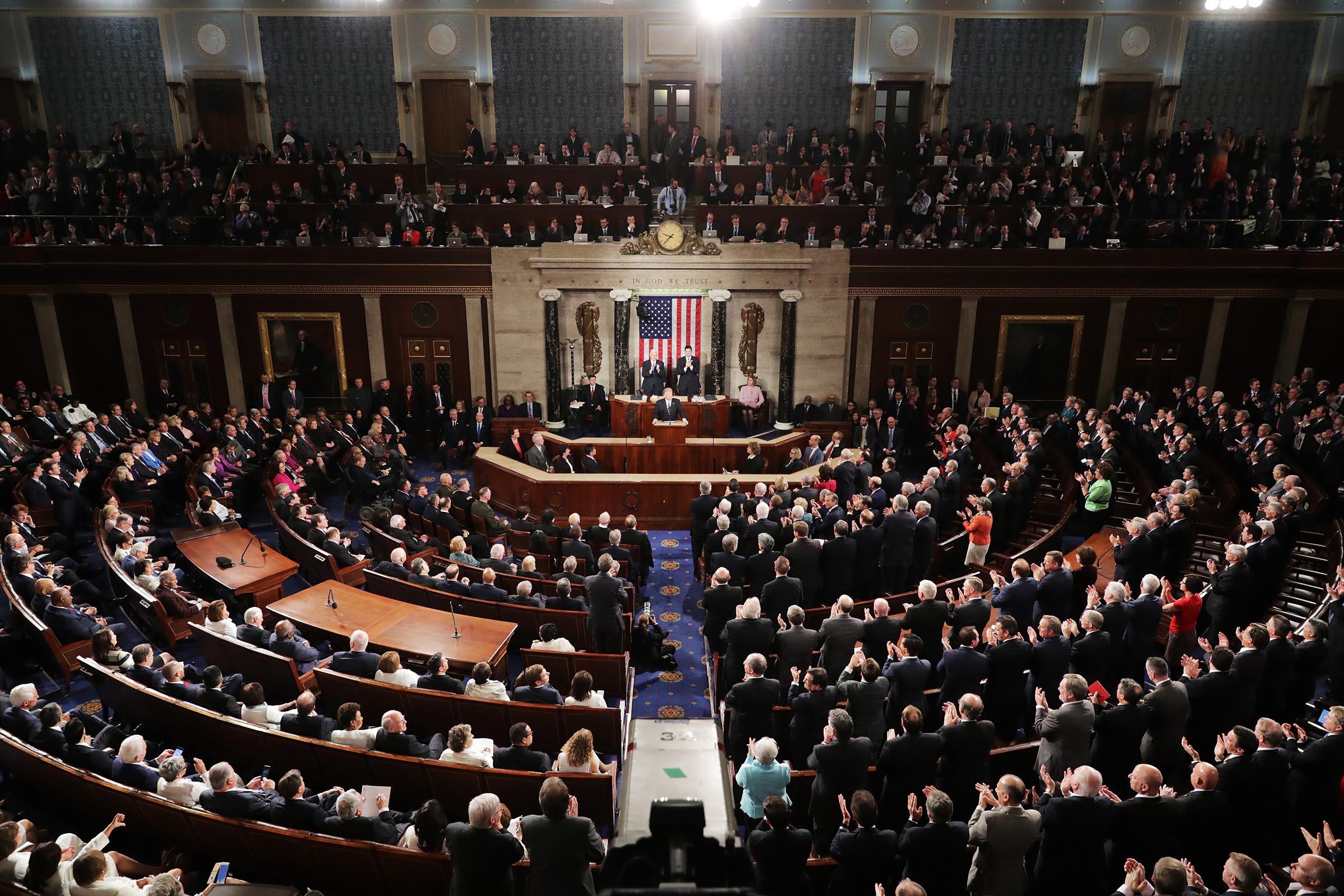 Ông Trump phát biểu trước lưỡng viện quốc hội. Ảnh: Getty Images.