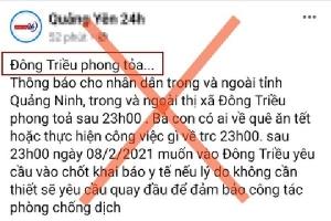 Bác bỏ thông tin phong tỏa thị xã Đông Triều