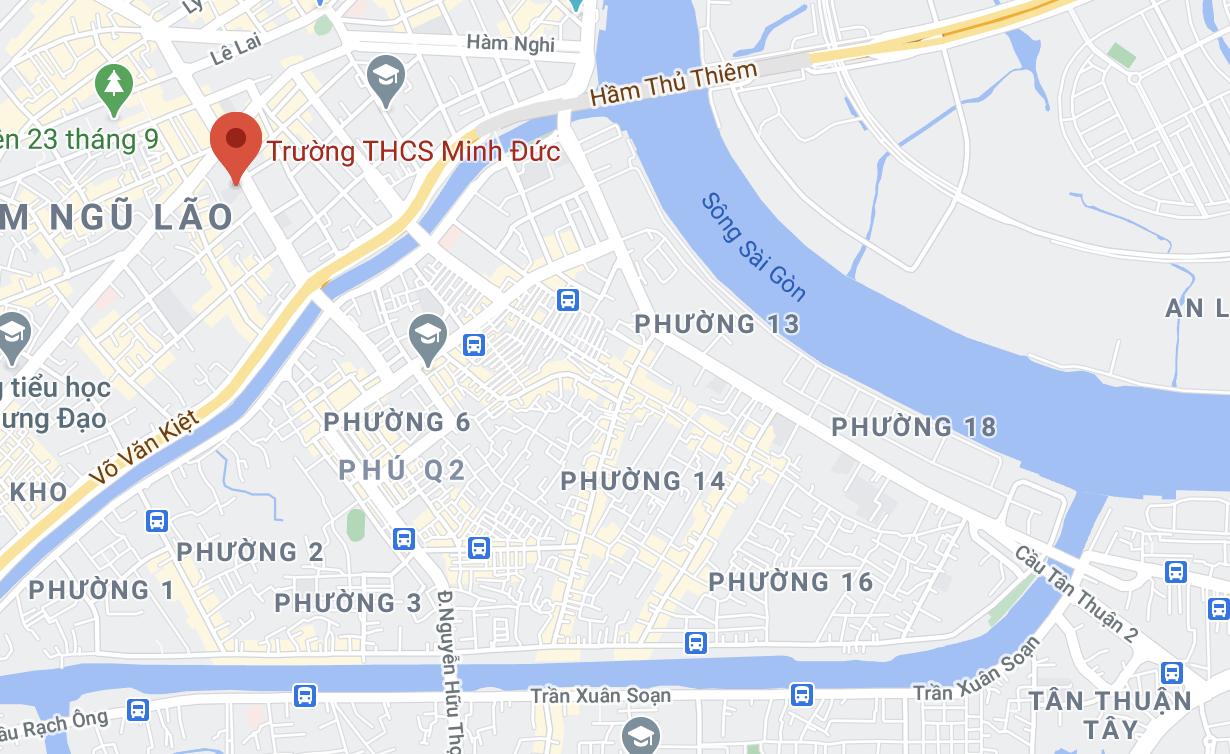 Vụ việc xảy ra ở trường THCS Minh Đức, quận 1. Ảnh: Google Maps.