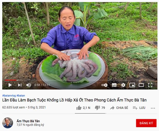 video đầu tiên trên kênh Ẩm Thực Bà Tân đạt 62k lượt xem sau 1 tuần.