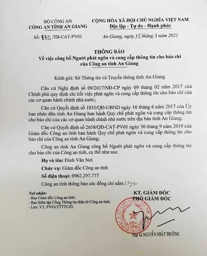 Thông báo công bố đại tá Đinh Văn Nơi là người phát ngôn, cung cấp thông tin báo chí của Công an tỉnh An Giang. Ảnh: LT.