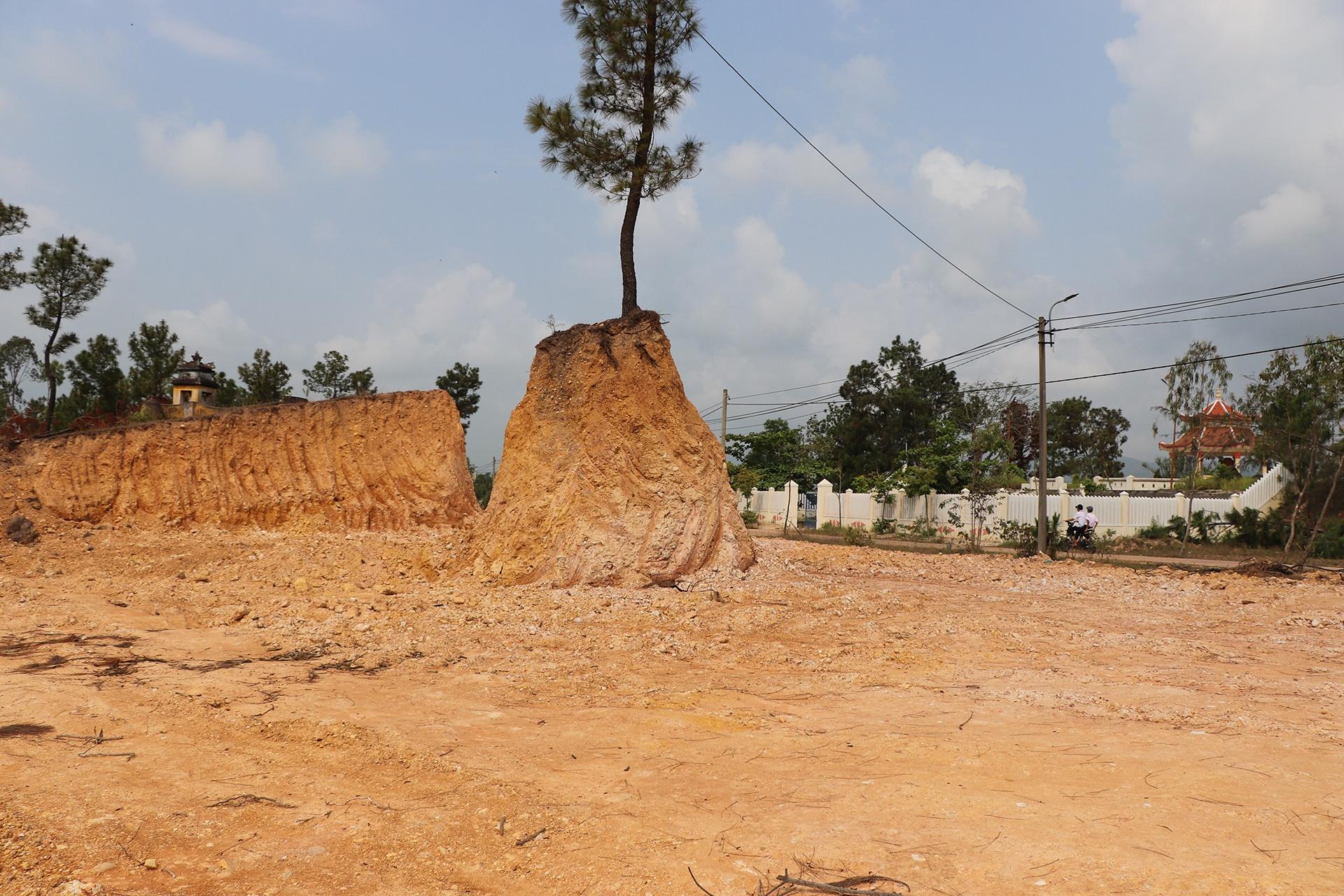 Ngọn đồi trước di tích lịch sử Đá Chùm bị UBND xã Điện Tiến, thị xã Điện Bàn, Quảng Nam, san ủi trái phép. Ảnh: Thanh Đức.