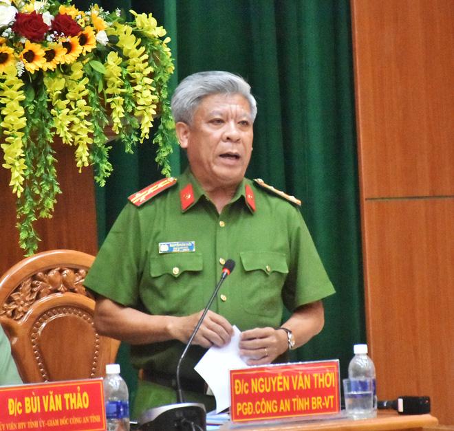 Đại tá Nguyễn Văn Thời, Phó Giám đốc Công an tỉnh thông tin nội dung vụ án.