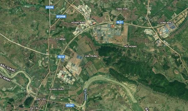Khu công nghiệp Quang Châu và Vân Trung hai ổ dịch lớn nhất tỉnh Bắc Giang nằm gần nhau, trên tuyến cao tốc Hà Nội - Bắc Giang.