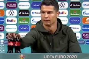 Ronaldo tức giận tại phòng họp báo vì bị Ban tổ chức cho uống coca
