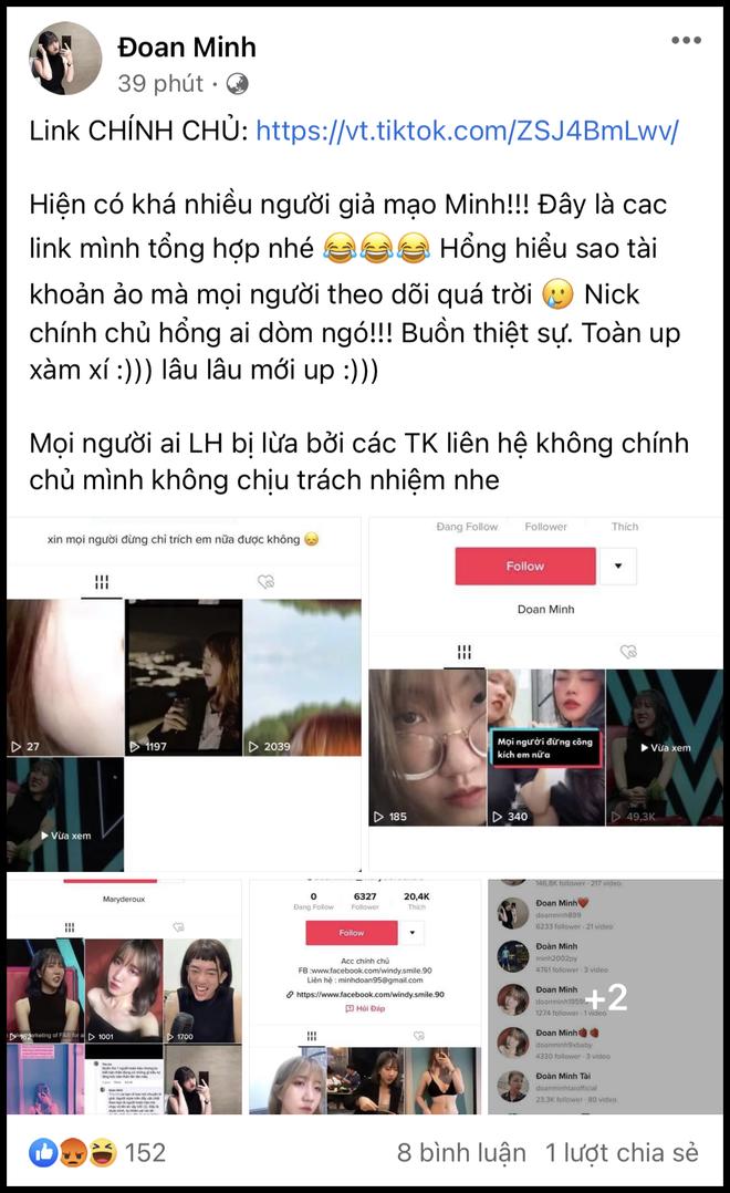"""Đoan Minh liên tục cập nhật trên trang cá nhân, cho biết chuyện bị """"pha ke"""" trên TikTok và tiện PR TikTok chính chủ."""