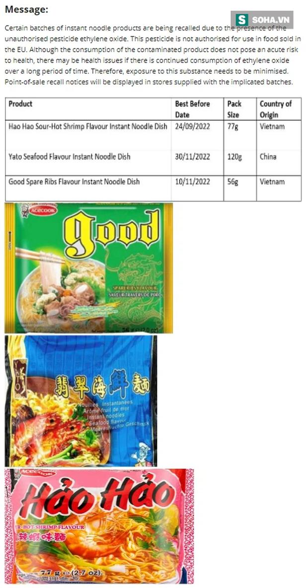 3 dòng sản phẩm trong danh sách thu hồi của FSAI bao gồm mì Hảo Hảo vị tôm chua cay, miến Good vị sườn heo, mì Yato vị hải sản