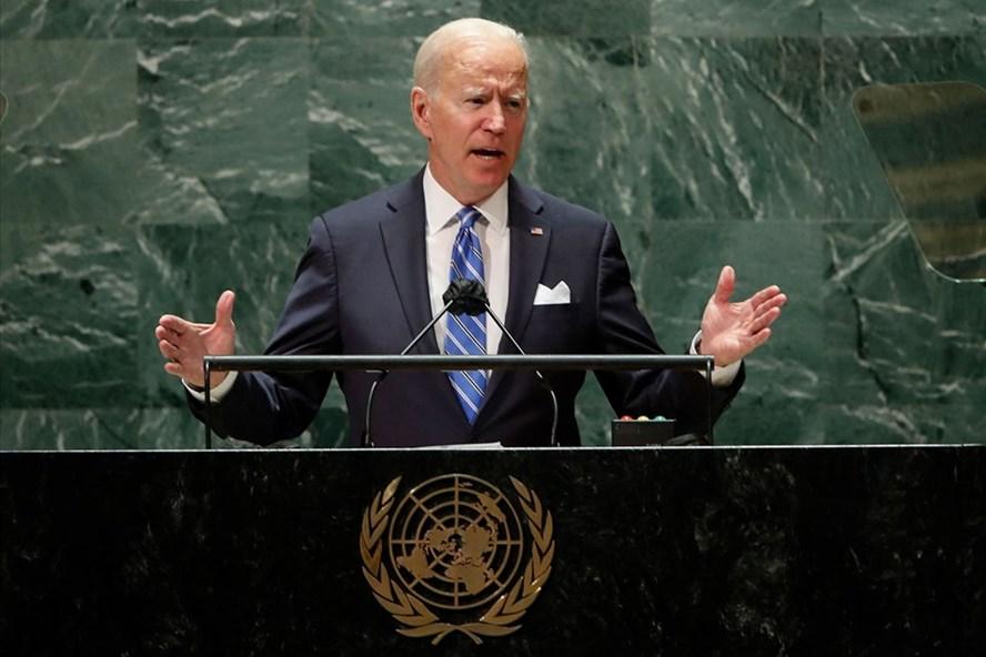 Tổng thống Mỹ Joe Biden phát biểu tại Đại hội đồng Liên Hợp Quốc ngày 21/9/2021. Ảnh: AFP